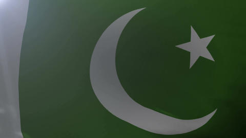 Flag of Pakistan waving on flagpole in the wind, national symbol of freedom Footage