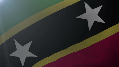Flag of Saint Kitts and Nevis waving in the wind, national symbol of freedom Live Action