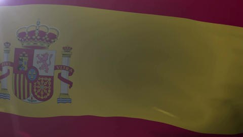 Flag of Spain waving on flagpole in the wind, national symbol of freedom Footage