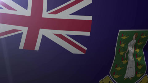 Flag of British Virgin Islands waving in the wind, national symbol of freedom Footage