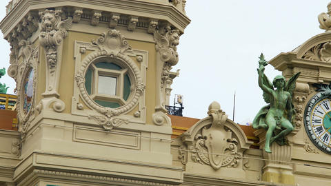 Decorative sculptures on Monte Carlo Casino building, beautiful architecture Footage