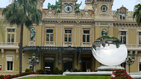 Modern Sky Mirror sculpture near beautiful Monte Carlo Casino in Monaco, tourism Footage