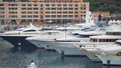 Private pleasure yachts moored in sea harbor, luxury rest on expensive vessels Live Action