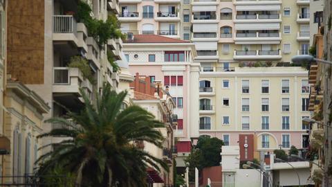 Establishing shot of window in modern European apartment building, cityscape Footage