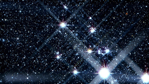 Travel Inside a Field of Glowing and Twinkling Stars with Azimuth Motion Animation