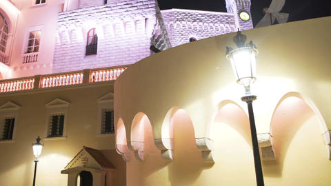 Official residence of Monaco Prince, illuminated palace, night panorama, tourism Footage