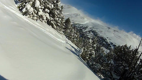 POV of snowboarder enjoying extreme free ride, falling down in snowy forest ビデオ