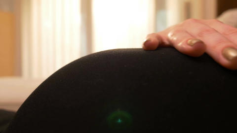 Closeup of pregnant woman belly touched with maternal love Footage
