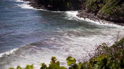 Waves Crashing at Tropical Island Footage
