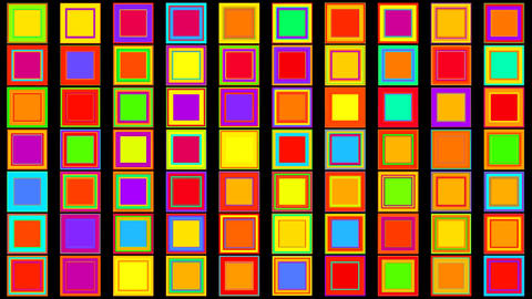 Colorful Red, Purple, Green, Orange, Yellow, Blue Squares Abstract Background Animation