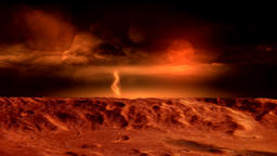 View from the surface of Mars with Storm and Lightnings Animation