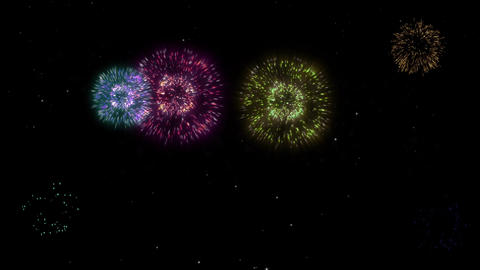 Celebration greeting firework particles and sparks on black night sky with color Animation