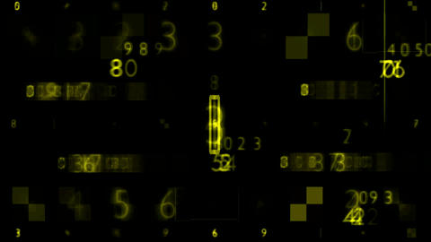 Yellow Numbers Random Sequence Background Animation Stock Video Footage