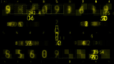 Yellow Numbers Random Sequence Background Animation Animation