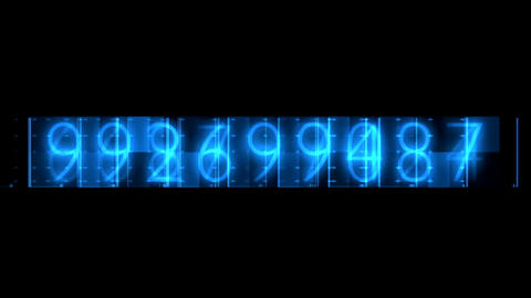 Blue Numbers Random Sequence Background Animation. Alpha Channel Animation
