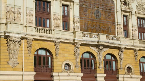 Fancy facade of Teatro Arriaga opera house decorated with sculptures and molding Footage