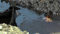 Dump toxic waste, oil lagoon contamination soil and water Footage
