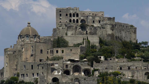 Medieval architecture of ancient Aragonese Castle, Church of Immacolata dome Footage