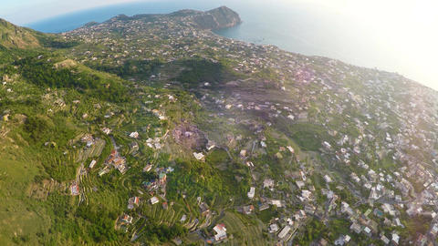 Volcanic island Ischia with many private economies and gardens on green hills Live Action
