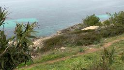 Spain Mallorca Island Cala Blava 016 above the steep coast of the bay Footage