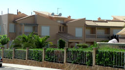 Spain Mallorca Island Cala Blava 019 spanish pastel colored row houses Footage
