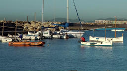 Spain Mallorca Island Palma Can Pastilla 003 small bay with boats during sunrise Footage