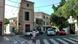 Spain Mallorca Island Sóller 001 crossing with railway in city center Footage