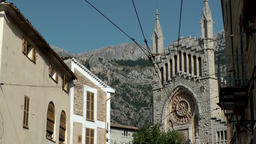 Spain Mallorca Island Sóller 003 Sant Bartomeu church nave front side Footage
