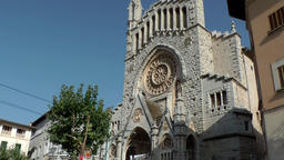 Spain Mallorca Island Sóller 006 landmark Sant Bartomeu church in city center Footage