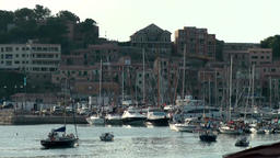 Spain Mallorca Island Sóller 022 port, marina and old district at evening Footage