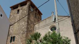 Spain Mallorca Island various 027 church of the village Estellencs Footage