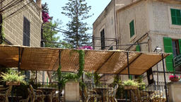 Spain Mallorca Island various 028 restaurant in village Estellencs Footage