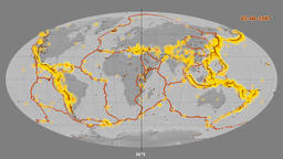 Earthquakes on the bilevel elevation map. Prime meridian 180 degree Animation