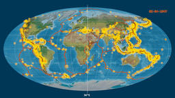Earthquakes on the topographic map. Prime meridian 180 degree Animation