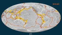 Earthquakes on the elevation map. Prime meridian 0 degree Animation