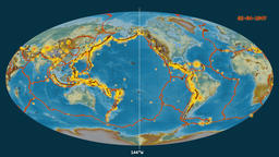 Earthquakes on the relief map. Prime meridian 0 degree Animation