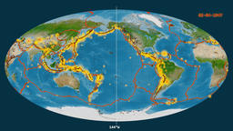 Earthquakes on the satellite map. Prime meridian 0 degree Animation