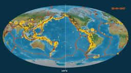 Earthquakes on the topographic map. Prime meridian 0 degree Animation