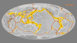 Earthquakes on the elevation map. Prime meridian: 180 degree Animation