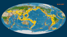 Earthquakes on the satellite map. Prime meridian: 180 degree Animation