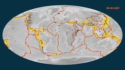 Earthquakes on the elevation map. Prime meridian: 0 degree Animation