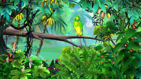 Green Parrot in a Jungle UHD Animation