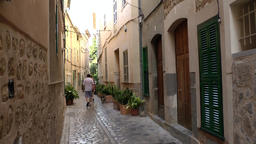 Spain Mallorca Island various 054 shady old alley in the village Deia Footage