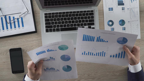 Businessperson comparing two graphs and entering data on laptop computer Live Action