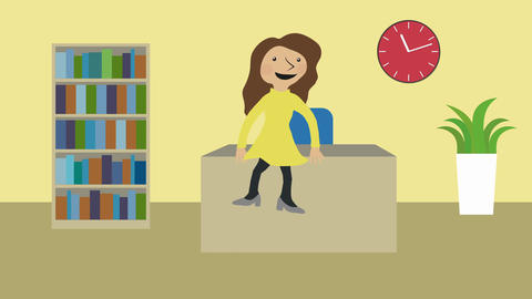 Happy woman in office sitting on desk. Animated character with flat design. Conc Animation