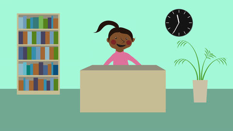 Startup office with woman at desk. Beginning a new business. Animated character Animation