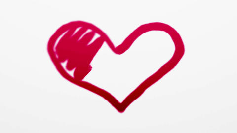 Heart symbol painted by red paint on white Animation
