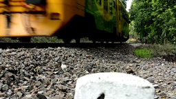 train passing through the forest - stones - trees Footage