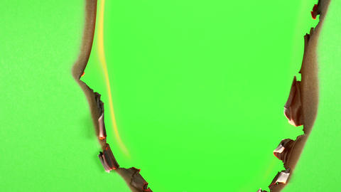Burning Green Screen On A Green Background stock footage