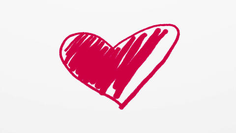 Hand drawn red heart on white background Animation